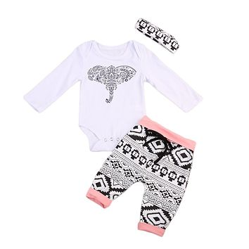 Newborn Baby Boy Girl Clothing Romper Suit Elephant Long Sleeve Romper Long Pants +Headband Outfits