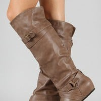 Candies-64 Buckle Round Toe Knee High Boot