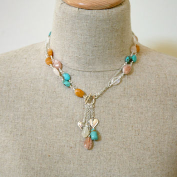 Long or Short Convertible Multi Stone Dangling Cascading Necklace
