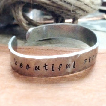 Beautiful Strong ... Worthy - Handstamped Inspirational Cuff Bracelet- Recovery Jewelry - Personalized Handstamped Silver Cuff