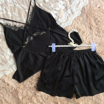 Spaghetti Strap Sleepwear Shorts Ladies Lace Hollow Out Sexy Bottom & Top [4920576324]