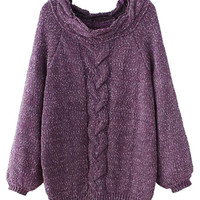 Purple Cable Long Sleeve Chunky Knit Jumper