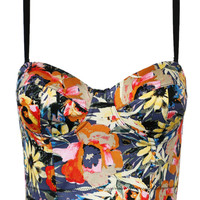 Multi Floral Zipped Strappy Cropped Top