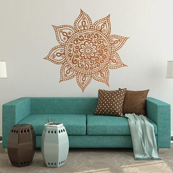 Vinyl Mandala, Wall Decal Mandala, Wall Art Ideas, Yoga Poster Print, Meditation Wall Art, Vinyl Decal, Living Room Art, Wife Boho Gift #023