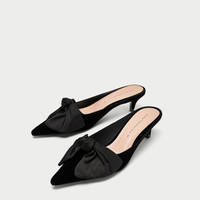 KITTEN HEEL MULES WITH BOW DETAILS