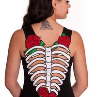 Hell Bunny Ribcage & Rose Skelerose Cutout Tank Top