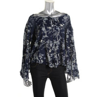 Denim & Supply Ralph Lauren Womens Floral Print Bell Sleeves Pullover Top