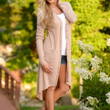 Started From The Bottom Duster Cardigan - Beige