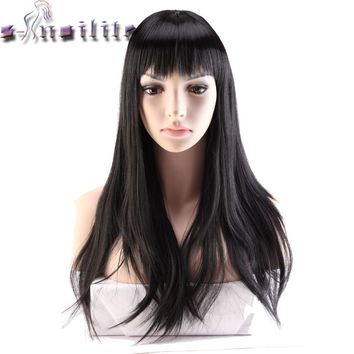 S-noilite 24'' Long Black Hair Wigs For Women Synthetic Wigs For Black Women Heat Resistant False Hair Pieces Hairstyles