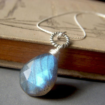 Labradorite Briolette Necklace on Sterling Silver . Large Luminous Wirewrapped Blue Gemstone Pendant . Electric Storm