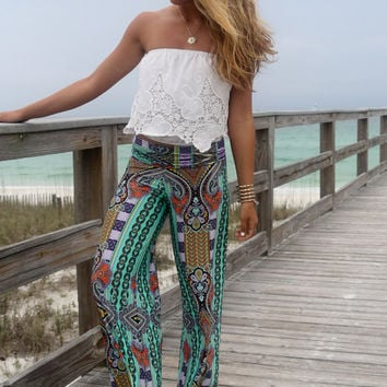 Keeping It Cool Mint Green Tribal Print Palazzo Pants