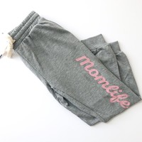 Momlife Capri Joggers - Heather Gray w/ Blush Glitter Print