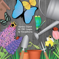 Garden Clip Art Bundle Flowers, Insects, Butterflies, Gardening Tools, Flower Pots, Scrapbook Garden Illustration, Digital Gardening Clipart
