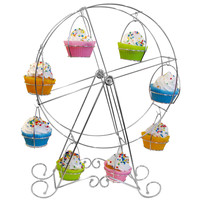 Evelots Ferris Wheel Cupcake Stand,Durable,Decorative & Holds 8 Cupcakes, Silver