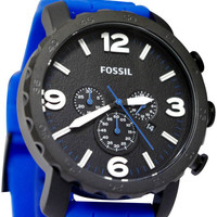 Fossil JR1426 Blue Silicone Bracelet Mens Watch