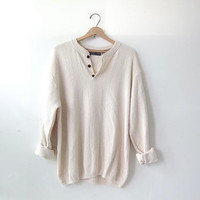 vintage slouchy sweater. henley pullover shirt. size M