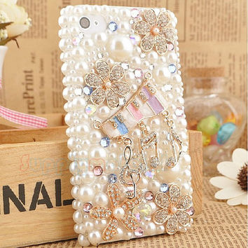 Handmade Bling Crystal Pearl flower cell phone case for iPhone 4 4s or iphone 5 5s cover