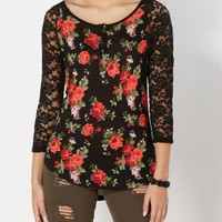 Red Rose Lace Sleeve Raglan | Long Sleeve | rue21
