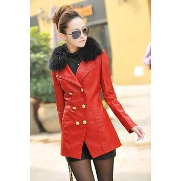 High Quality Hot Sale Women's Leather Jacket Fur Collar Mid-Length Warm Female Overcoat 2017 Fashion Trendy  Clothing GQ1697