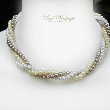 Avon Faux Pearl Three Strand Necklace, Twisted Tri Color Pearl Necklace, Bridal Jewelry