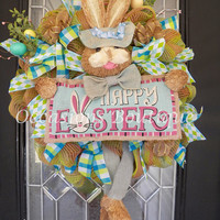 Burlap Easter Wreath, Easter Decoration, Bunny Wreath, Spring Wreath, Front door wreaths, Wreath for door, Ready to Ship