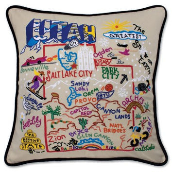 Utah Hand Embroidered Pillow