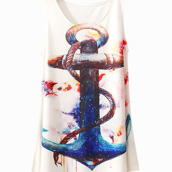 Off White Anchor Print Sleeveless Top