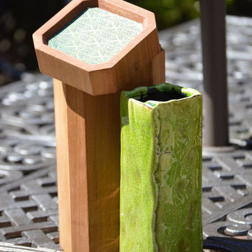 Raku Like Lime Green Vase, Burnished Crackled Pottery, Handmade Cedar Storage Box, Beautiful!
