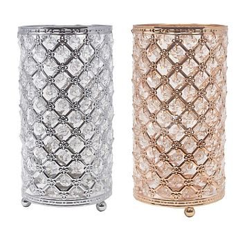 Metal Crystal Candle Holder with Hanging Beads, 9-1/2-Inch