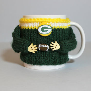 Coffee mug sweater. Football mug cozy. Green bay football. Green yellow. Tea cozy. Coffee cozy. Football  gift. Gift for him Football jersey