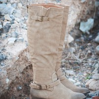 DBDK Dakkeni-3 Buckled Riding Knee High Boot (Taupe) - Shoes 4 U Las Vegas