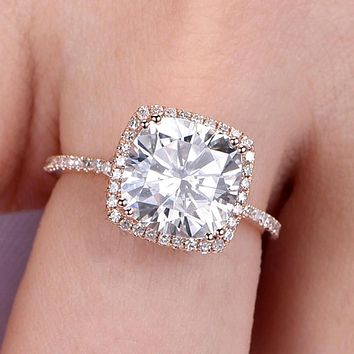 14K White Gold 3CT Cushion Cut Moissanite Diamond Solitaire Engagement Ring