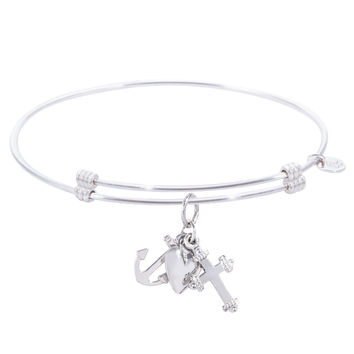 Sterling Silver Alluring Bangle Bracelet With Faith,Hope,Charity Charm
