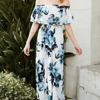 Cayman Off Shoulder Sky Floral Maxi Dress