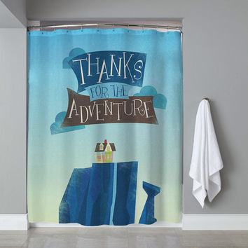 Pixar Up Adventure Is Out There Quotes Custom Shower Curtain Limited Edition