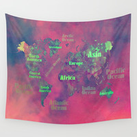 world map 116 #worldmap #map Wall Tapestry by jbjart