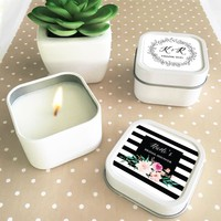Personalized Floral Garden Square Candle Tins (Set of 24)