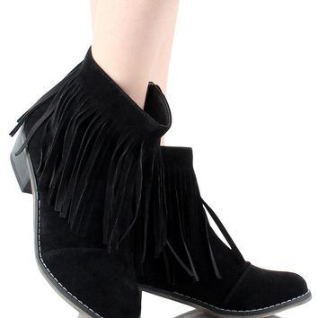 Fringe Round Toe Cowgirl Vegan Suede Ankle Women's Boots