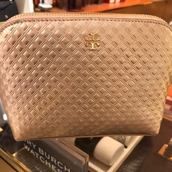 Authentic Tory Burch Marion Embossed Cosmetic Case
