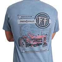 Tractor Tee in Washed Denim Blue by Fripp & Folly