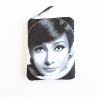 Audrey Hepburn Clutch-Pouch-Cosmetics Bag- Wallet-Vintage Wallet-Hollywood Icon Purse.