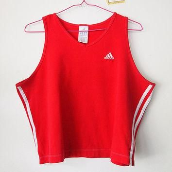 Get PHYSICAL // Vintage 90s ADIDAS Crop Top Athletic Shirt Trefoil Womens L - XL
