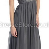 A-line One Shoulder Chiffon Floor-length Light Slate Gray Draped Prom Dress at dressestore.co.uk