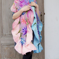 Nuno felted ruffle scarf, fashionable pastel colors, silk&wool long shawl with decorative floral motif, reversible shawl . OOAK