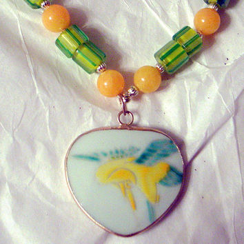 Spring Daffodil Necklace- Antique Handpainted Pottery- Yellow and Green-Jade Pearls Art Glass - Handmade - 21 Inches