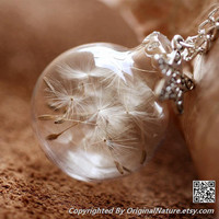 Nature Inspired Jewelry Real Dandelion Necklace Pendant Gift (HM0094-SILVER)