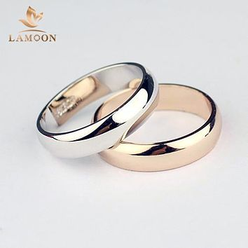 ITALINA Initial For Man and Woman Rose Gold Color High Polish Wedding band Classic rings R049 R050