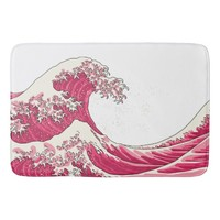 Great wave - traditional pink bathmat