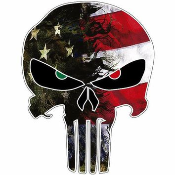 "USA Flag Camo Punisher Skull Sticker Decal 4.2"" x 5.4"""