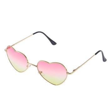 Summer Style Heart Shaped Gradient Sunglasses